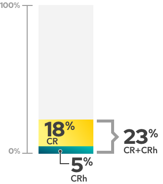 Remission rates graph showing study data for Azacitidine alone (18% achieved complete remission, an additional 5% achieved complete remission with partial hematologic recovery, 23% achieved some level of remission (CR+CRh))