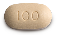 One 100 mg tablet of VENCLEXTA